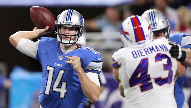 Sep 1, 2016; Detroit, MI, USA; Detroit Lions quarterback Jake Rudock throws the ball during the second quarter against the Buffalo Bills at Ford Field.