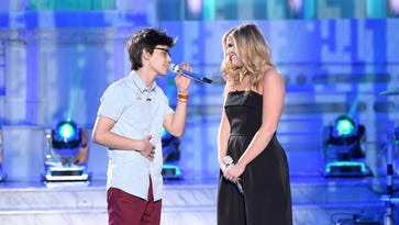 Mackenzie Bourg performs a duet with Lauren Alaina  Thursday on :American Idol.""