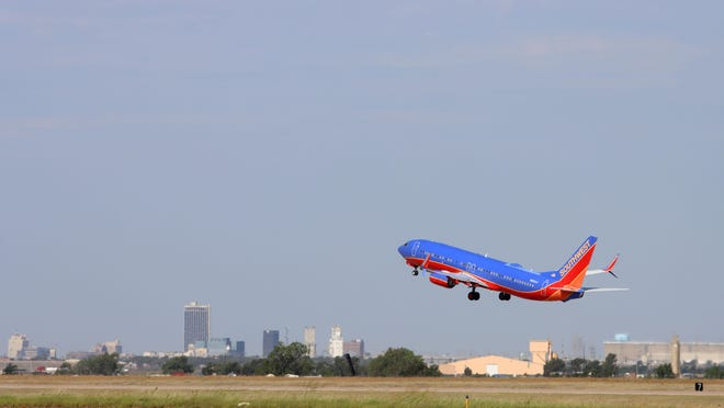 A Southwest Airlines flight takes off from Rick Husband Amarillo International Airport.