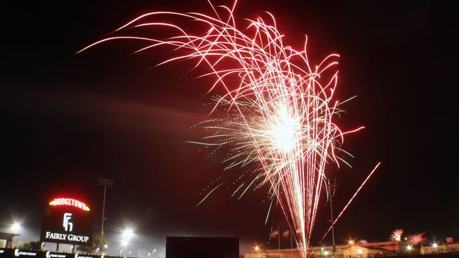 Hodgetown Stadium's fireworks display helped the city of Amarillo celebrate the Fourth of July in the Globe-News file photo.