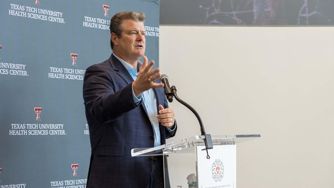 Texas Tech Chancellor Tedd Mitchell discusses the West Texas Mental Health Collaborative during a press conference Monday at the Texas Tech Health Sciences Center in Lubbock.
