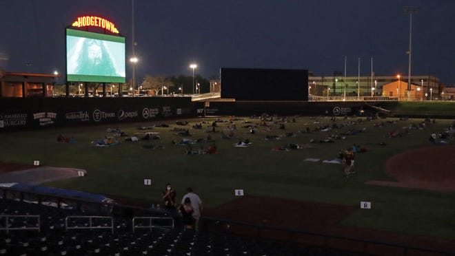 "Hodgetown hosted an on-field movie night featuring ""Harry Potter and the Sorcerer's Stone"" on Saturday evening."