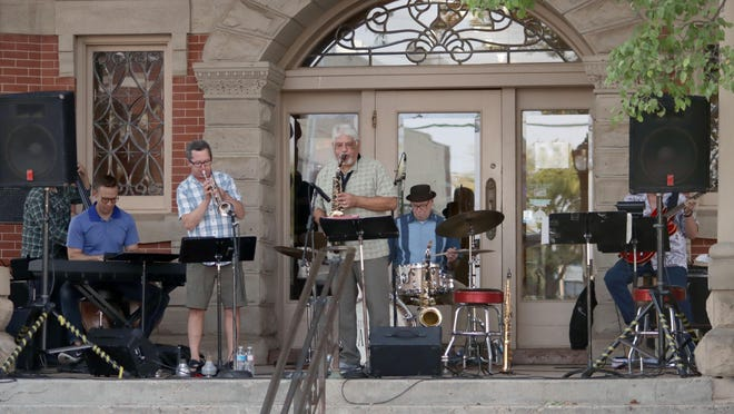 The Martinis kick off the ninth season of Center City of Amarillo's Jazztober series on the steps of the Bivins Mansion on Polk Street Tuesday evening.