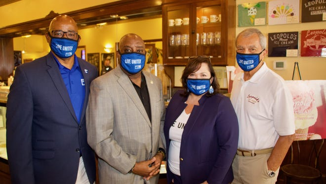From the left: Chief Terry Enoch, Savannah Mayor Van Johnson, United Way CEO Brynn Grant and Stratton Leopold.