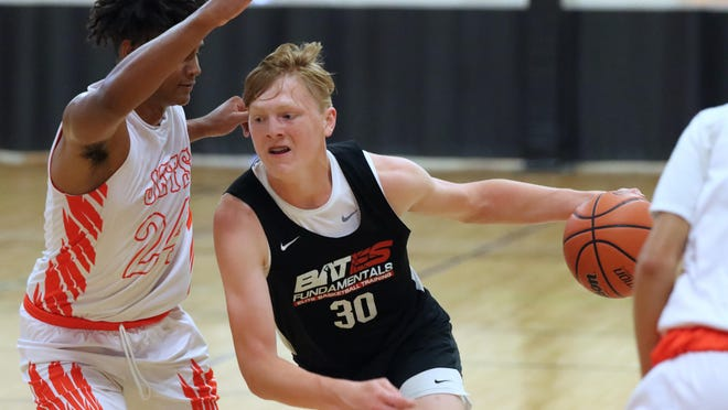 Merritt Alderink, who will be a freshman at Zeeland West, plays travel basketball for the Bates Fundamentals 14U team.
