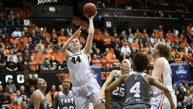 Ruth Hamblin uses her size to be force for the Oregon State women's basketball team.