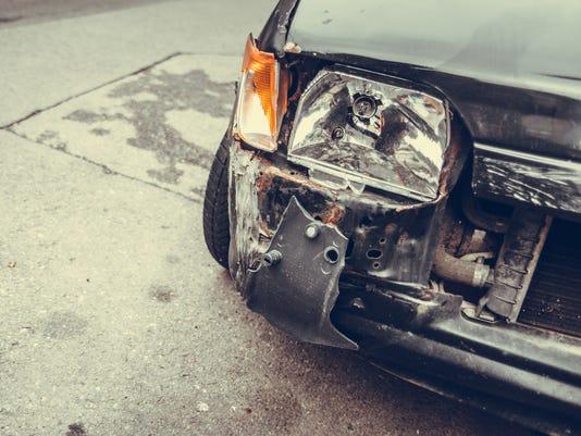 Crashed car headlight detail