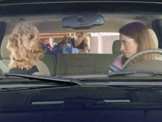 Libby Ewing (on right) in a recent Walmart commercial. After graduating from college, Ewing has had a successful acting career in New York and California.