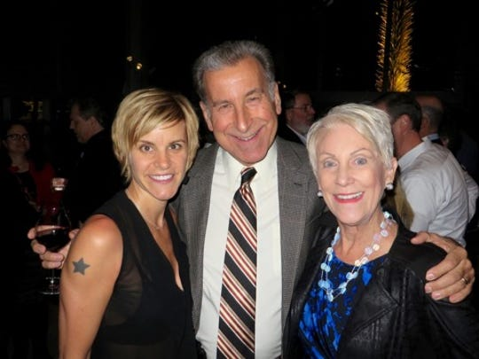 Beverley Bass, pictured with husband Tom Stawicki and actress Jenn Colella, attended opening night of Come From Away in Seattle.