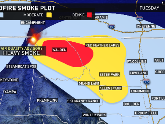 Light winds from the northwest are forcing smoke from