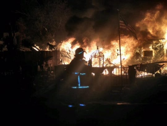 A mobile home caught fire on Sept. 22, 2016, in the