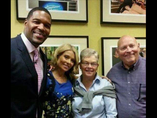 Former Giants DL coach Denny Marcin, R, and his wife Betsey at a taping of the Live show with Kelly Ripa and Michael Strahan