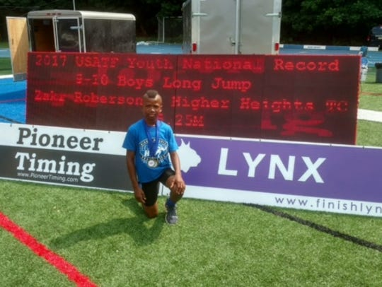 Zak'r Roberson of Newark after his record-setting effort