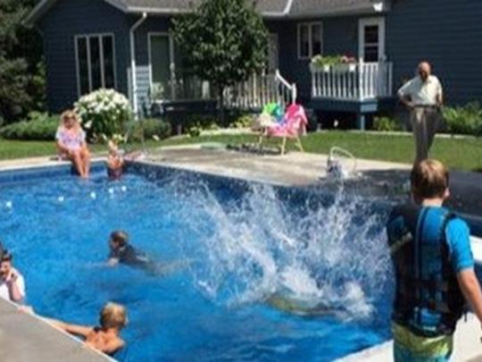 Davidson shares his pool with the neighborhood.