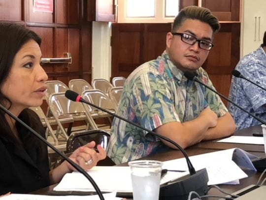 In this file photo, Guam Hotel and Restairant Association President Mary Rhodes, left, testifies in favor of a bill seeking to immediately tax short-term vacation rentals without a new set of Department of Revenue and Taxation rules and regulations.