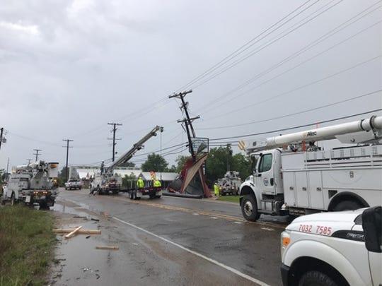 Power lines were down along Cameron Street near Ambassador Caffery.