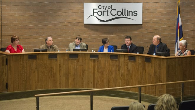 Candidates seeking seats on the Poudre School District Board of Education take questions Wednesday in Fort Collins City Council Chambers. The League of Women Voters of Larimer County hosted a forum for candidates to address issues surrounding the school district.
