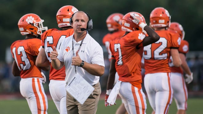 """Central York head coach Josh Oswalt, shown here coaching against West York in a file photo, said the move to drop West York from the Panthers' schedule was a """"business decision."""" DISPATCH FILE PHOTO"""