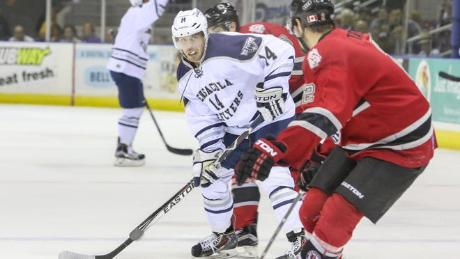 The Ice Flyers Charlie Adams, shown in earlier season game against Huntsville, had a hat trick Thursday when the Ice Flyers beat Fayetteville 5-2 in a morning game to begin three-game road series.