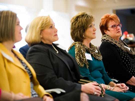 Finalists Jill Griffin, of Newburgh, from left, Darcy Ellison, of, Evansville, Janet Baas, of Newburgh, and Stephanie Tenbarge, of Evansville,Êduring a news conference to announce the finalists for the 2017 ATHENA Award at The Southwest Indiana Chamber, Monday, Dec. 5, 2016. The winner will be announced during the annual ATHENA Award Luncheon in February.