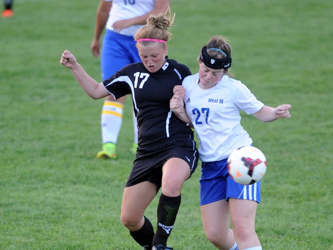 River View's Mallory Giffin and West Muskingum's Ashley Gutridge fight for the ball.