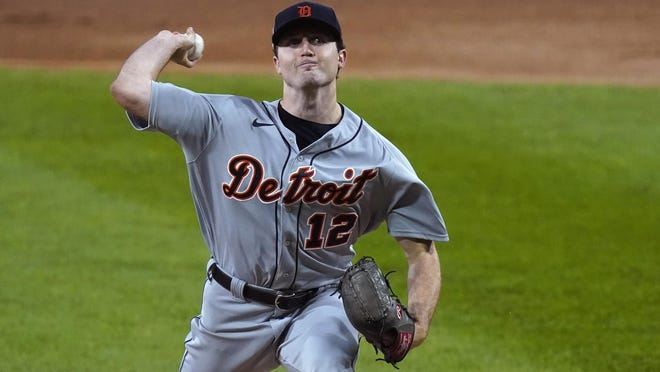 Detroit Tigers starting pitcher Casey Mize delivers during the first inning of a baseball game against the Chicago White Sox Friday, Sept. 11, 2020, in Chicago.