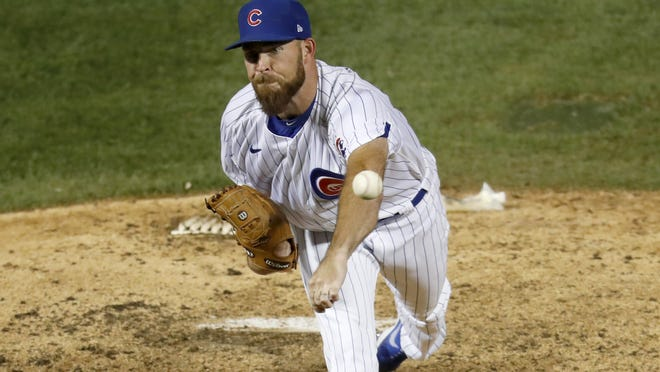 Chicago Cubs relief pitcher Kyle Ryan delivers during the ninth inning of a baseball game against the Kansas City Royals on Tuesday in Chicago. The Cubs won 5-4.