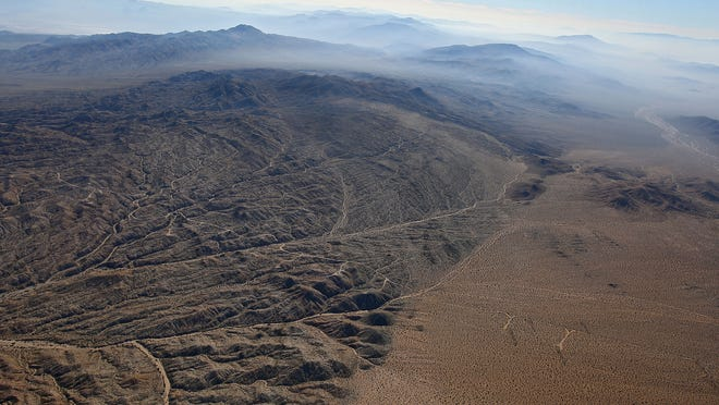 An aerial photo of the Mojave desert northeast of Twentynine Palms, California, taken on Oct. 20, 2014.