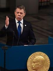 Colombia's President Juan Manuel Santos gives his acceptance
