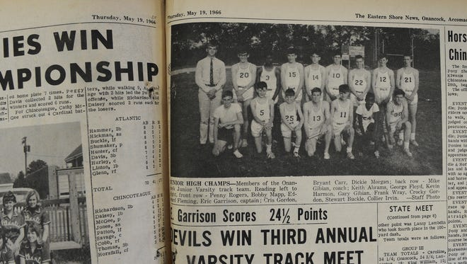 George Floyd is pictured back row, third from left, on his junior varsity track team at Onancock High School in 1966. The team was among the first integrated sports teams on the Eastern Shore.
