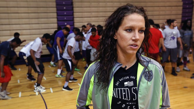 Two-time Olympic gold medalist (2008 and 2012) Lauren Holiday (formerly Cheney), a 2006 graduate of Ben Davis High School, returned to her alma mater for a youth clinic, May 20, 2015.