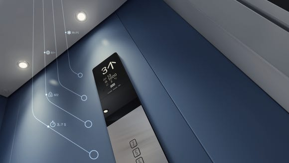 A graphic showing the data available from a Kone elevator.