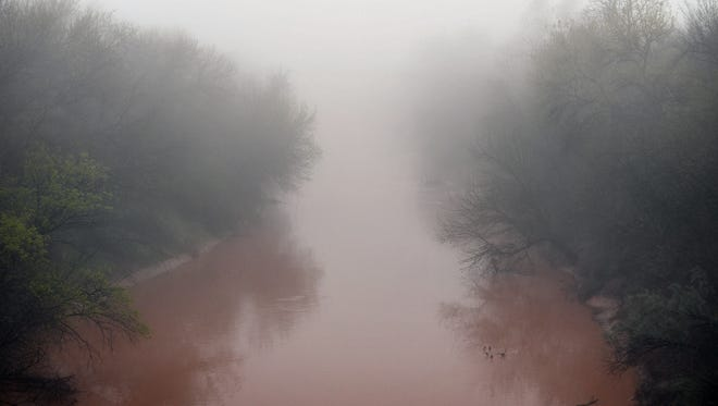 A thick shroud of fog hangs over the Wichita River and the North Texas area early Thursday morning.