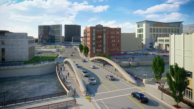 The new Virginia Street Bridge will have wider walkways, as well as plazas on both sides of the river, as shown in an architect's rendering. A groundbreaking ceremony for the $18.3 million project is slated Wednesday.