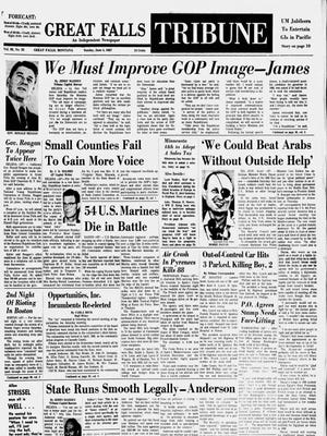 Front page of the Great Falls Tribune from Sunday, June 4, 1967.