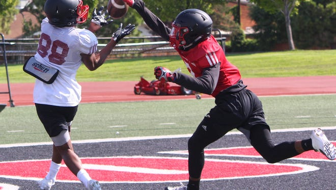 T-Birds compete in one-on-one drills Thursday during SUU football camp.