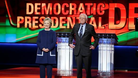 Democratic presidential candidates Hillary Clinton,