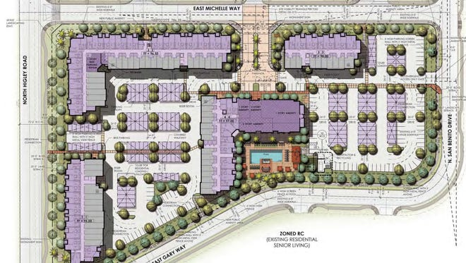 A map of the proposed City Gate Apartments in Gilbert on the southeast corner of Higley and Baseline Roads.
