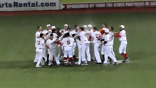 The Freedom celebrate a walkoff win on July 4.