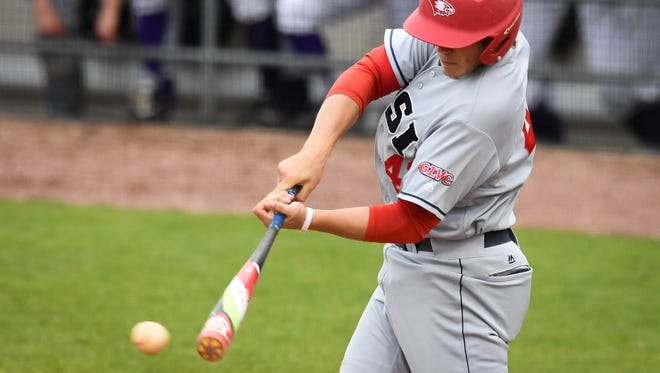 Logan Brown bats during Southern Indiana's annual cross-town game against the University of Evansville, April 25, 2018.