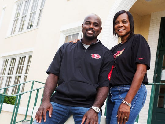 Roy Anderson and his mother, Mary Simpson. Anderson is an assistant coach with the San Francisco 49ers. He was raised in Tallahassee but considers Fort Myers a second home. Simpson graduated from Fort Myers High School in 1971 but attended classes at the old Dunbar High School before integration. Anderson now spends his summers in Fort Myers, but he's bringing his mom with him to California next week as NFL training camps begin.