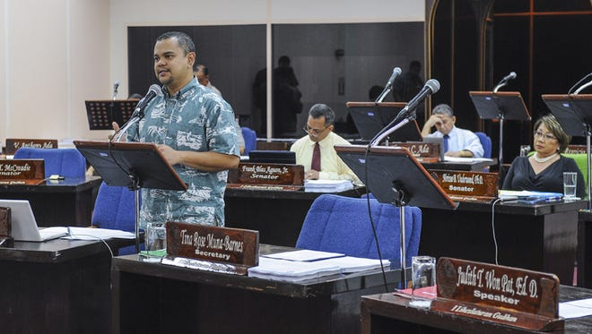Sen. Dennis Rodriguez Jr. speaks during the March 17 session at the Guam Legislature in Hagatna. Pacific Daily News file photo