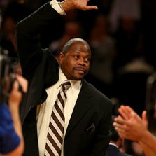 NEW YORK, NY - NOVEMBER 05:  New York Knicks legend Patrick Ewing salutes the fans in the first quarter at Madison Square Garden on November 5, 2013 in New York City.Ewing is now an assistant coach on the Charlotte Bobcats. NOTE TO USER: User expressly acknowledges and agrees that, by downloading and/or using this photograph, user is consenting to the terms and conditions of the Getty Images License Agreement.  (Photo by Elsa/Getty Images)