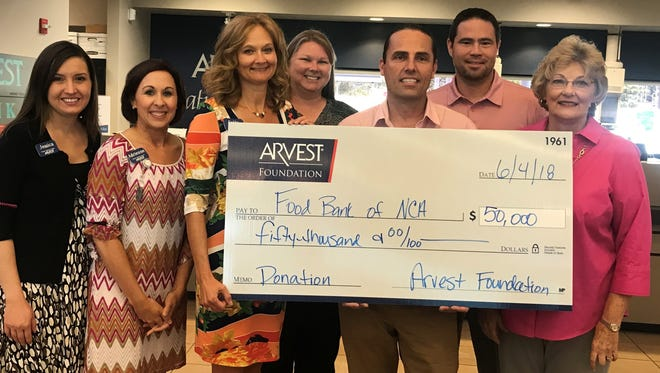 """The Food Bank of North Central Arkansas recently received the final installment of a four-year and cumulative donation from the Arvest Foundation in the amount of $50,000 toward the food bank's """"Bridging Hunger, Building Hope"""" comprehensive campaign. Pictured are: (from left)Jessica Jefferson, of Arvest Bank; Adrienne Blackwell,of Arvest Bank; Sally Gilbert, market president of Arvest Bank in Mountain Home; Allison Parks, Food Bank of NCA; Jeff Quick, president of the Food Bank of NCA; Scott Copeland, Food Bank of NCA; and Janice Fletcher, Food Bank of NCA."""