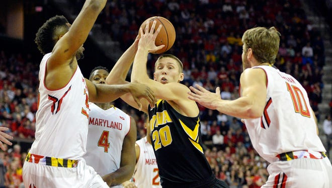 Iowa's Jarrod Uthoff had three points and went without a field goal in the first half of Thursday's 74-68 loss at Maryland. He finished with nine points and still holds a narrow lead in the Big Ten scoring race. He is averaging 18.40 points per game, Michigan State's Denzel Valentine is at 18.39.