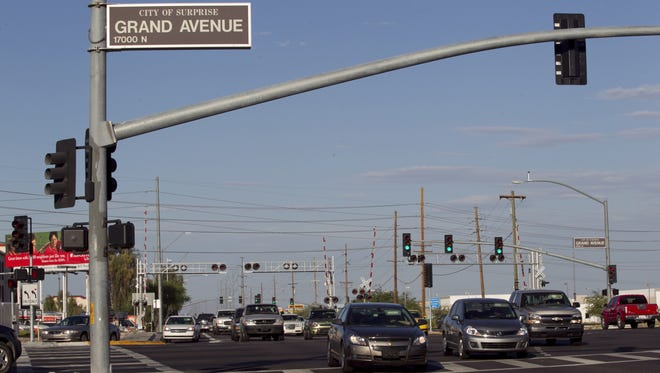 Many West Valley residents commute east for work, leading to traffic congestion.  An overpass is being built at the intersection of Bell Road and Grand Avenue to ease the bottleneck.