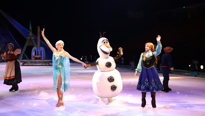 """Anna, Elsa, Olaf and their friends skate into the Bon Secours Wellness Arena for """"Disney On Ice presents Frozen"""" presented by YoKids. The show runs through Sunday and tickets are still available at the Wellness Arena box office and at ticketmaster."""