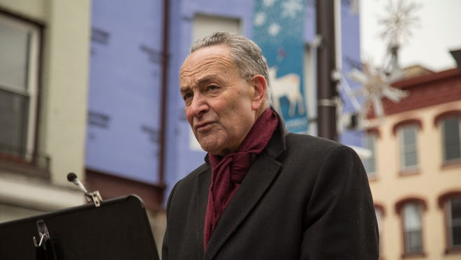 U.S. Sen. Charles Schumer, D-New York, duiring a visit to The Ithaca Commons in February.