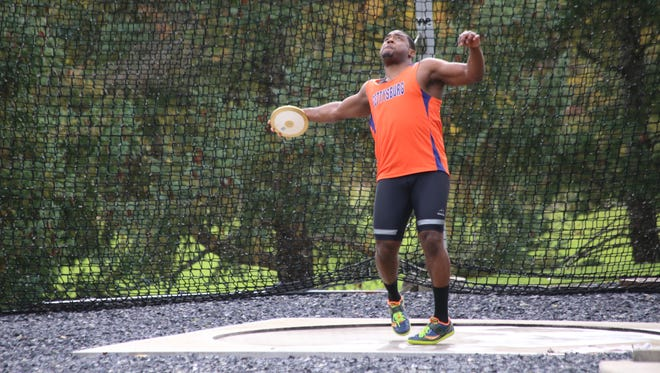 Gettysburg College senior Andre Hinds owns the top discus distance in the Centennial Conference this season.