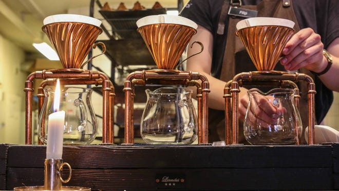 Johnson is a big supporter of barista competitions, and his well-trained staff proves it. He hopes coffee will be appreciated for its capacity for pleasure and nuance to the same extent as chocolate and wine. To demonstrate, he offers a coffee tasting using three different ceramic cup shapes, each meant to highlight a different aromatic trait. (Think grape specific stemware for wine.)